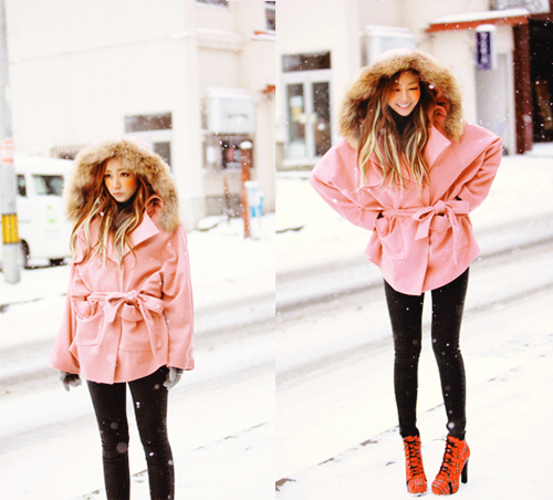 adorable, asian, blonde, cute, dyed hair, fake fur, fashion, fur, girl, hairstyle, high heels, kawaii, kfashion, korean, legs, pink, skinny, snow, sweet, uhljjang, ulzzang, winter