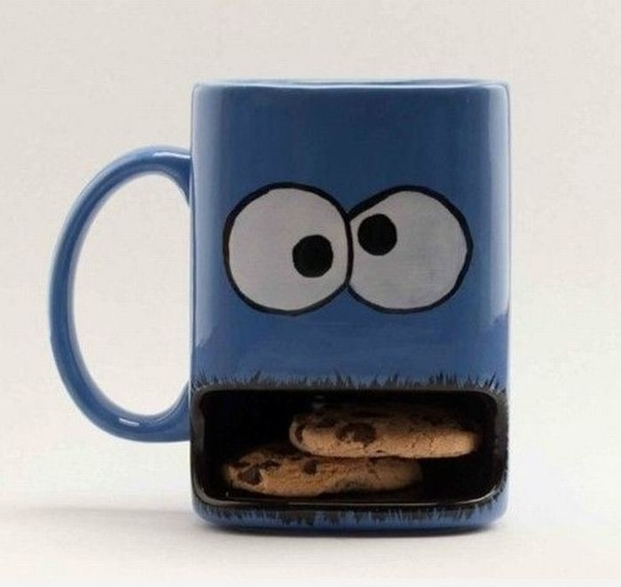 adorable, blue, coffee, cokkies, cookie monster