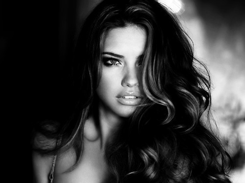adriana lima, b&w, beautiful, black and white, brunette, face, girl, model, photography