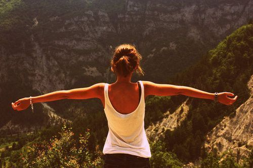 adventure, cliff, girl, mountains, photography, sunlight, tan