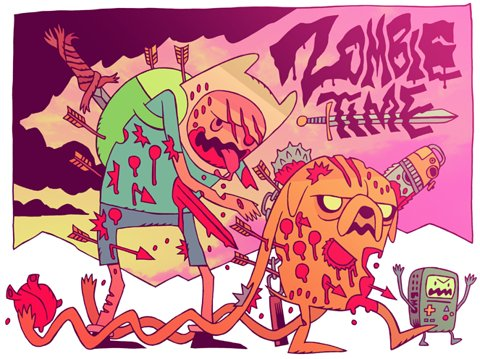 adventure time, fin, jake, zombie