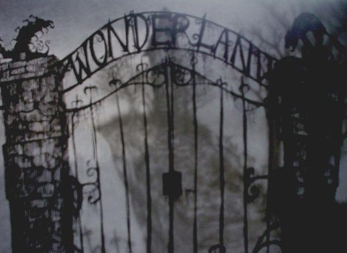 alice in wonderland, back and white, creepy, eerie, fashion, scary, spooky, wonderland