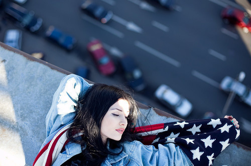 alone, america, america style, brunette, cute, dangerous, girl, pretty, road, sleeping, style