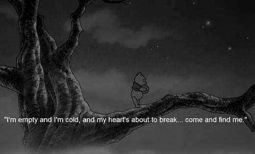 alone, anime, black and white, break, broken, cartoon, cold, dark, empty, heart, miss, night, pooh