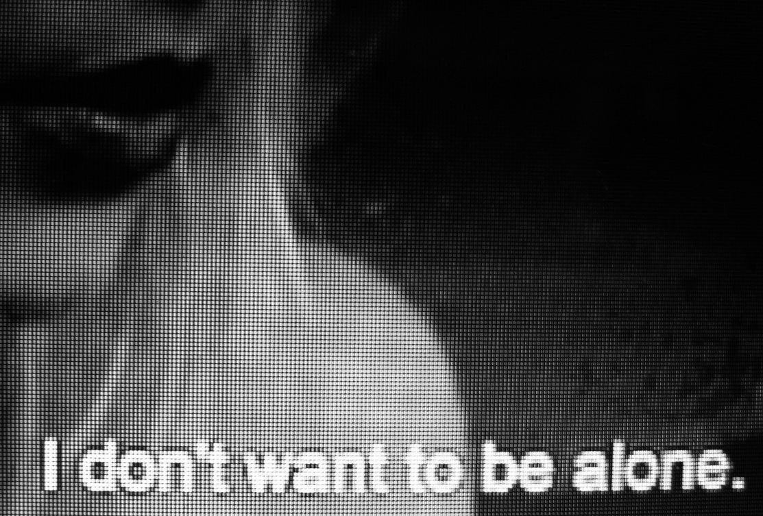 alone, b&amp;w, subtitles, text