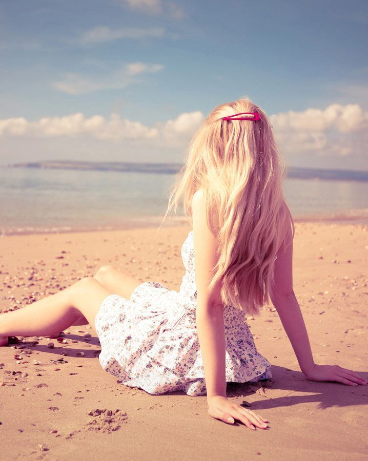 alone, beach, blond, dress, girl
