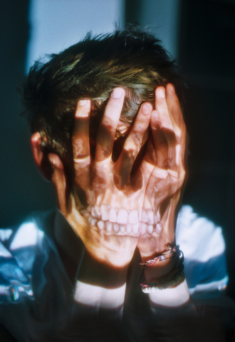 alone, boy, fear, hands, skull, tatoo, vintage