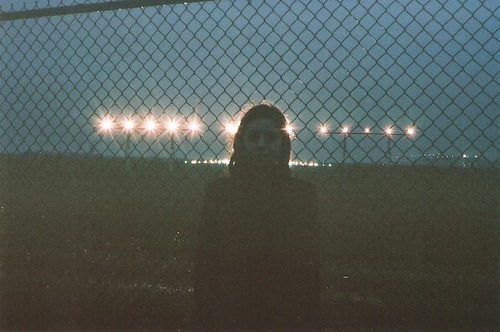alone, city, cute, girl, haze, light, nature, night, photo, vintage