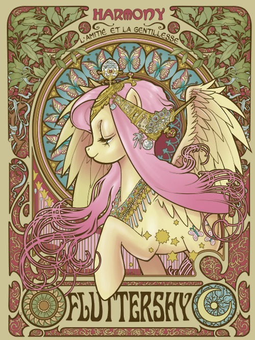 alphonse mucha, fluttershy, friendship is magic, my little pony