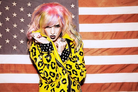 alternative, american flag, animal print, audrey kitching, beautiful, cool, flag, girl, hair, make up, model, photography, pink, pink hair, style, toxic vision, woman