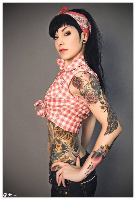 alternative, bandana, beautiful, black, black hair, checked, cute, dark hair, dye, dyed hair, girl, gorgeous, hair, hairstyle, plug, sexy, tattoo