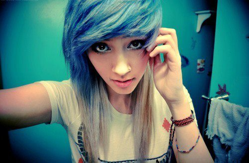 alternative, blonde, blue, blue hair, eyes, girl, hair, model, nose ring, nostril, photography, piercing, scene hair, style