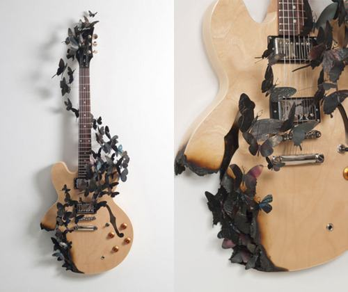 amazing, art, beautiful, butterfly, guitar, music