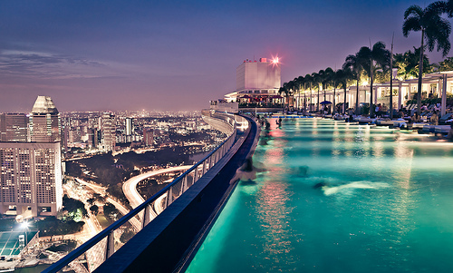 amazing, buildings, city, lights, luxury, palms, pool, view, water
