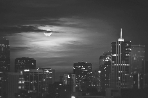 America Black And White Buildings City Moon Image 346679 On