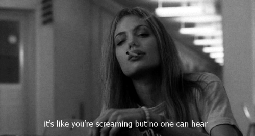 angelina jolie, black and white, cigarette, girl, girl interrupted, interrupted, screaming, smoke, text