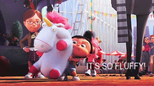 animal, brunette, despicable me, dispicalble me, fluffy, funny, hilariouus, lmao, lol, love, movie, park, pink, scarf, unicorn, yellow