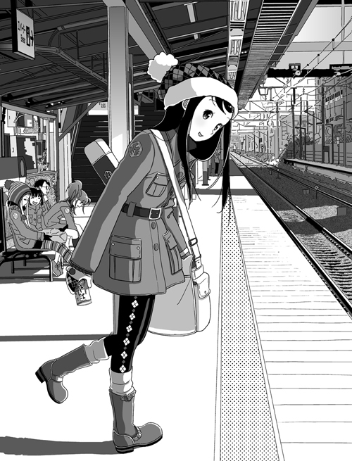 anime, black, girl, japan, manga, metro, shoes, smile, tokyo, white, winter