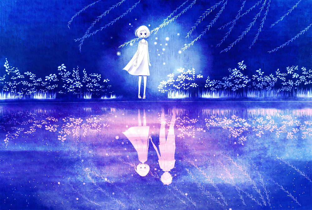 anime, blue, boy & girl, love, pretty