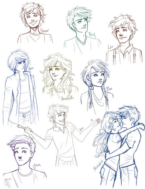 annabeth chase, grover underwood, jason grace, leo valdez, nico di angelo, percabeth, percy jackson, piper mclean, the heroes of olympus