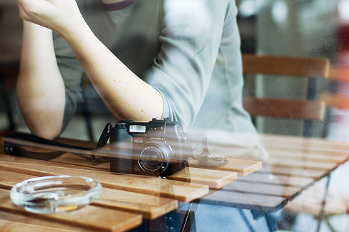 arms, art, beautiful, boy, camera, coffee shop, cool, hipster, indie, photo, photography, reflex, smoke