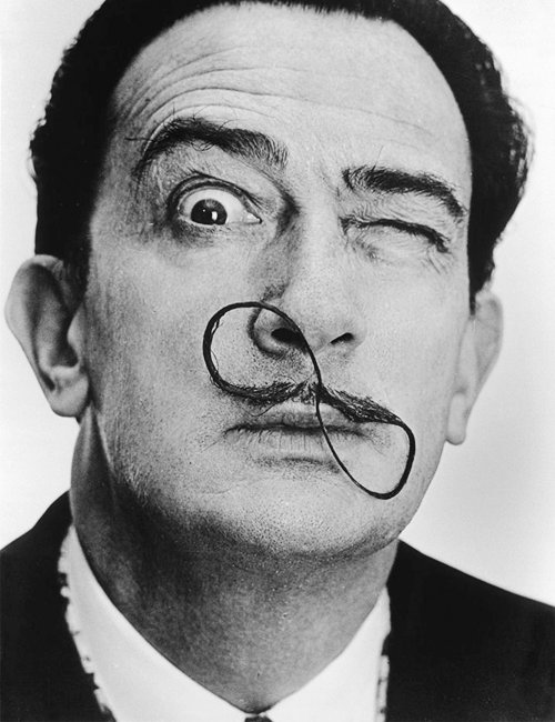 art, artist, black and white, eyes, man, moustache, mustache, salvador dali, weird