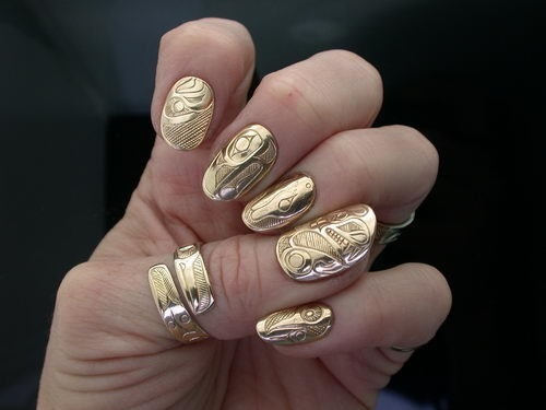 art, beautiful, design, gold, jewellery, nail art, nails, pattern, photography, ring, unique