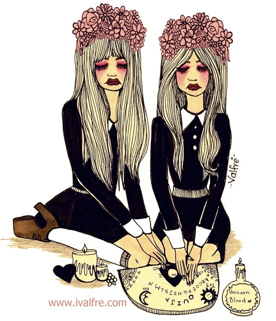 art, best friends, black, cute, dark, drawing, girls, hypster, illustration, ilse valfre, ivalvre, jeffrey campbell, lips, ouija, ouija board, outfit, text, valfre, witchcraft, witches