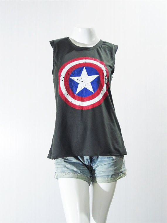 art clothing, black tank top, captain america, captain america tank, celebrity
