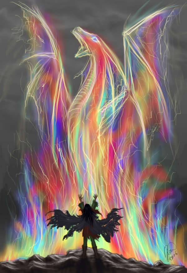 art, color, colors, colour, colours, dragon, fantasy, gir, illustration, kaytara, rainbow