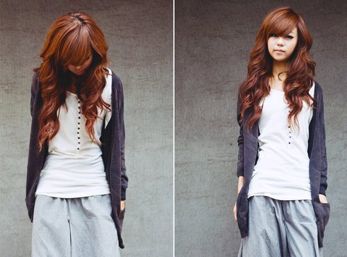asian girl, beautiful, brown, cardigan, clothes, curls, fashion, korean girl, sweatpants, model, pretty, hair, girl, ulzzang, kfashion, cute, nice hair, korean, skinny