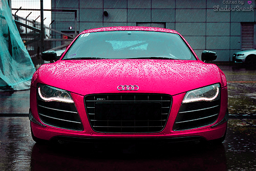 audi, car, cars, cool, dream, i heart it, pink, rain, red