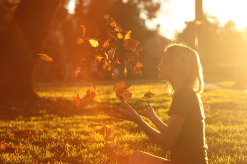 autumn, cute, fall, girl, leaves, sun