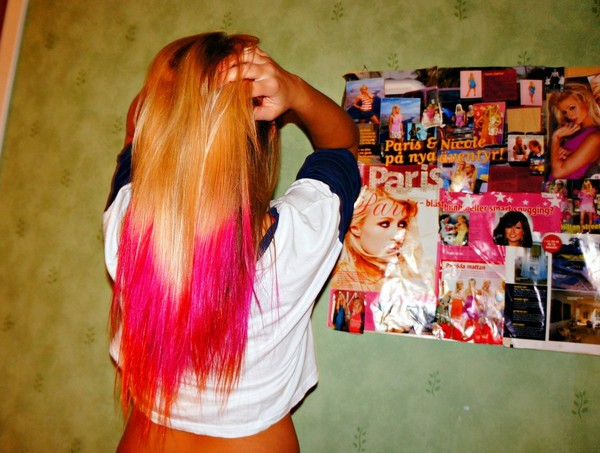 awesome, blonde, dip dye, paris hilton, pink, red