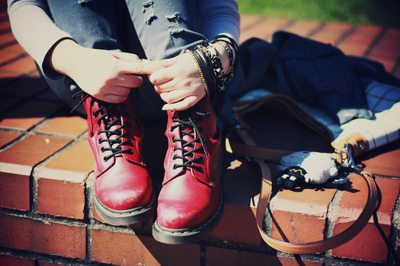awesome, boots, braclets, fashion, hands, legs, martens, photography, red, shoes, stuff, style