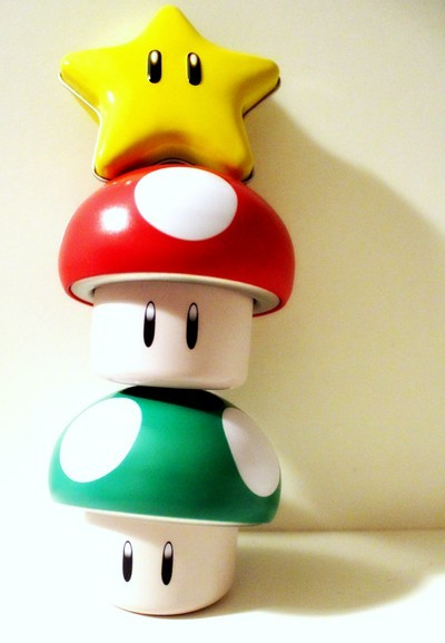 awsome, box, candy box, cool, cute, green, level up, mario, mushroom, nintendo, pretty, red, star, super mario, yellow