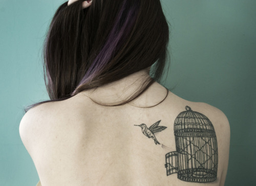 back, bird, birdcage, cake, girl, tattoo