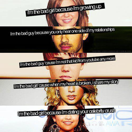 bad boys, bad girls, joe jonas, jonas, justin bieber, miley cyrus, selena gomez, taylor swift