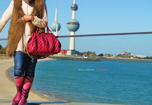 bag, beach, boots, burberry boots, fashion, fur, fur vest, kuwait, kuwait towers, marc, marc jacobs, marc jacobs bag, model, pink bag, sea, sea view