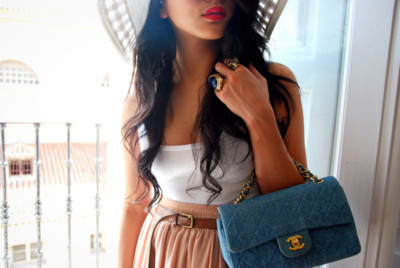 bag, beautiful, blue, chanel, fashion, girl, lips, model, photography, pink lips, skirt, style