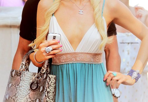 bag, blond, blond hair, cute, dress, fashion, girl, gucci, long hair, nice, phone, pink nails, smartphone