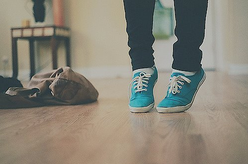 bag, blue, floor, leg, legs