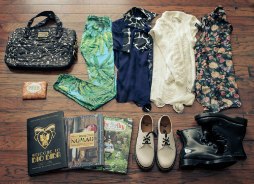 bag, books, boots, clothes, doc martens