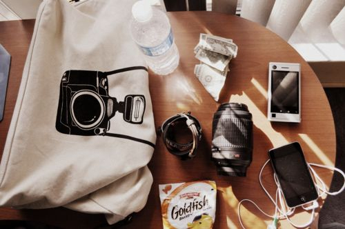 bag, camera, cell, goldfish, ipod