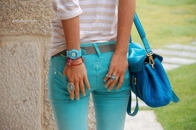 bag, clock, fashion, girl, outfit, pants, pants tube, shirt with stripes, stripes, teen, tube, turquoise