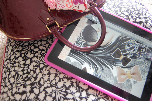 bag, cute, fashion, louis vuitton, pink, ribbon, tablet