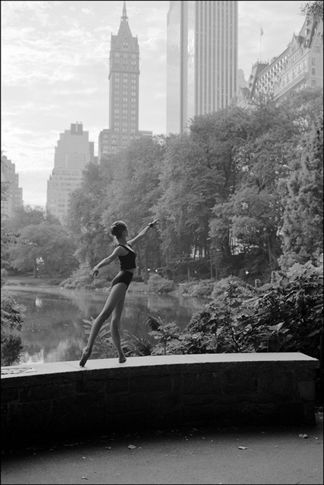 ballet, beautiful, black and white, city, dress, girl, lake, new york, park