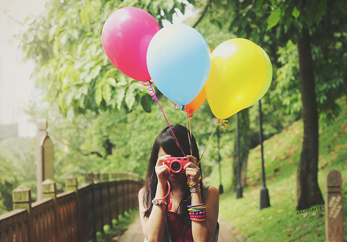 balloon, balloons, camera, color, colors, cute, fashion, girl, girls, photography, pretty, red