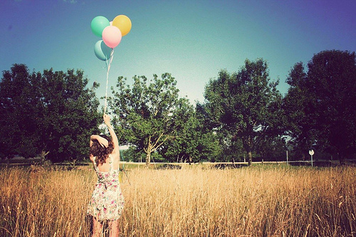balloons, curls, dress, fashion, field