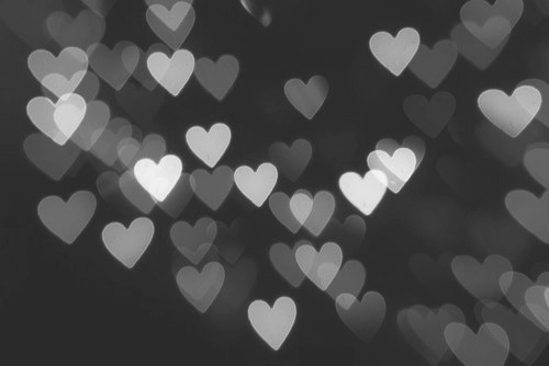 b&w, black and white, bokeh, heart, heart bokeh, hearts, light, lights, photography, photography filter